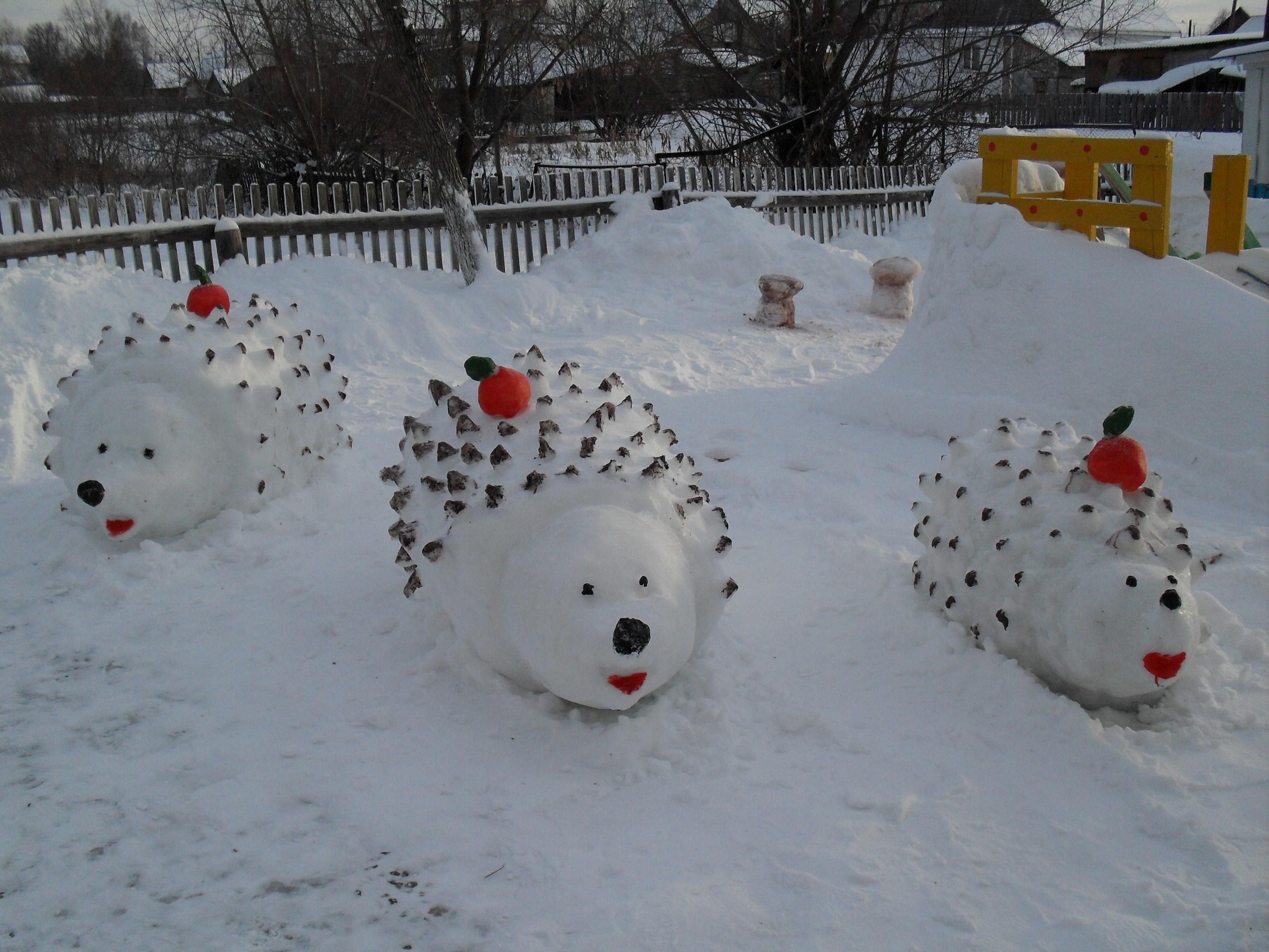 Фигуры из снега для детского сада своими руками